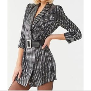 Metallic long sleeve blazer dress